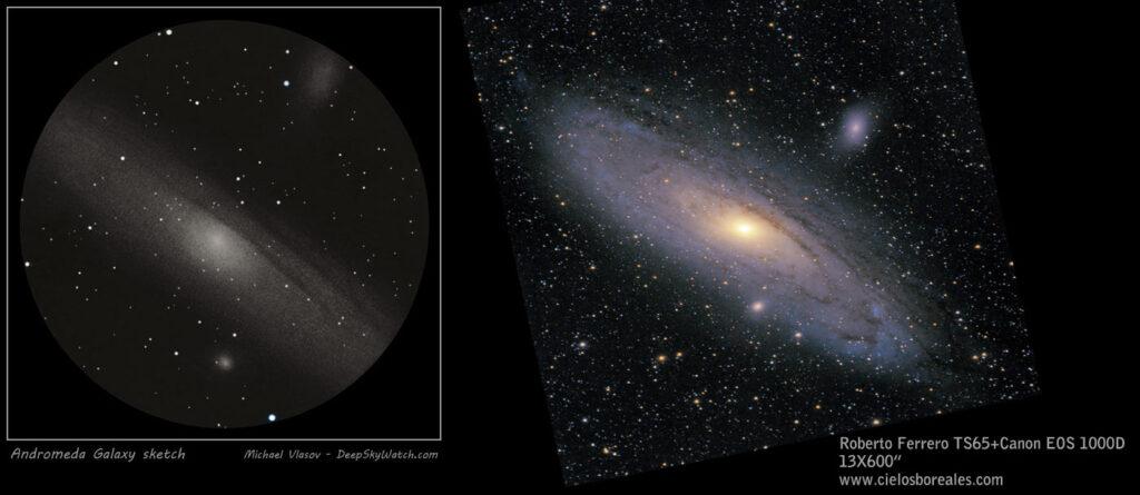La Galaxia de Andrómeda. Un objeto relativamente sencillo de observar. Las zonas externas de la galaxia son difíciles de observar en visual.