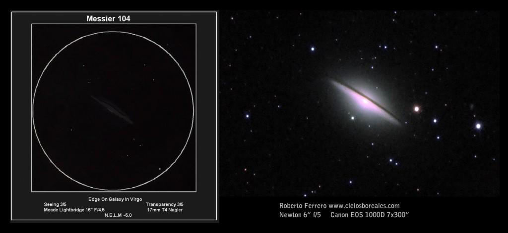 """La Galaxia del sombrero. El autor del dibujo observa a través de un dobson de 16"""". La banda oscura que caracteriza a esta galaxia es visible para el autor pero con aperturas más pequeñas se hace complicado."""