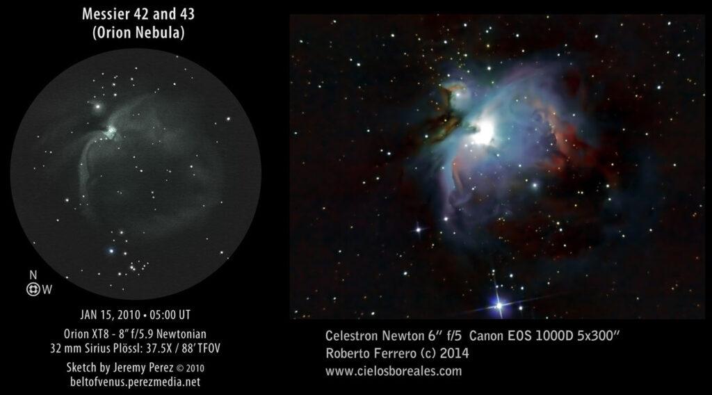 Comparación entre observación visual de M42 y fotografía.