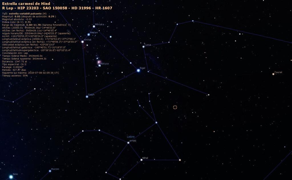 Localización de la estrella de carbono R Leporis