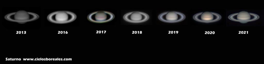 Diferentes imágenes de Saturno con el paso de los años