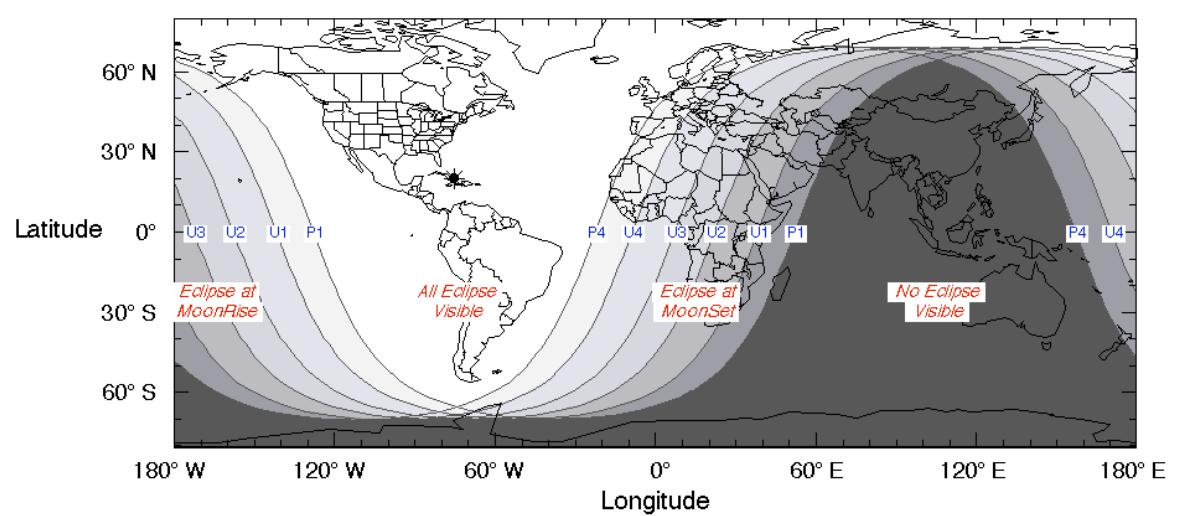 Visibilidad del eclipse lunar. Fuente Wikipedia.
