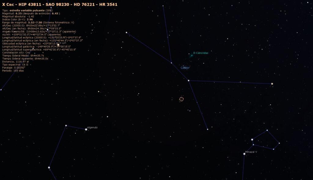 Localización de X Cancri